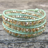 Spring Beaded Leather Wrap Bracelet 3 Wrap with Gold or Silver Polished Czech Glass Beads on Mint Green Leather