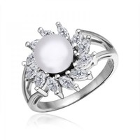 Rhodium Plated Fresh Water Pearl Ring - Flame in White