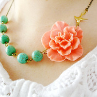 Coral NecklaceTurquoise JewelryBridesmaid by RachelleD on Etsy