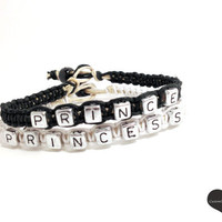 Prince Princess Bracelets for Couples Black White Hemp