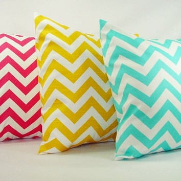Three Decorative Throw Pillow Covers - Bright Teal Pink and Yellow Chevron - 18 x 18 inches Couch Pillow Cushion Cover Accent Pillow