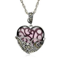 Sterling Silver Marcasite and Amethyst Colored Glass Heart Pendant, 18""