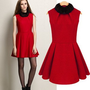 Fuzzy Collar Red Dresses For Women