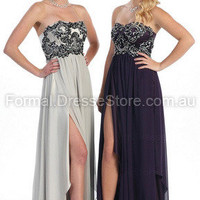 Edressestore.com.au — Sheath/Column Strapless Chiffon Floor-length Purple Appliques Formal Dresses at edressestore.com.au