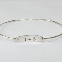 143 Bangle Bracelet, Stamped I Love You Silver Charm Disc Stackable Bangle, Love Jewelry, Numerical I Love You Bangle Bracelet