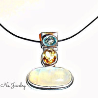 Polished Sterling Silver, Multi Gemstone Pendant ( Rainbow Moonstone, Topaz, Garnet, Peridot ) Magical  Leather Chord