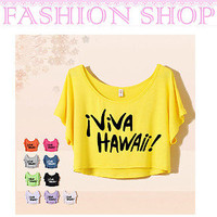 HOT 17 Models Lady/Women Loose Batwing Sleeve Round Collar Top Tee Short T-shirt