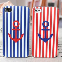 Red blue stripes navy lovers cases for iphone 4/4s