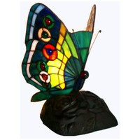 Butterfly Blue Green Yellow Tiffany Style Accent Lamp - #J6815 | LampsPlus.com