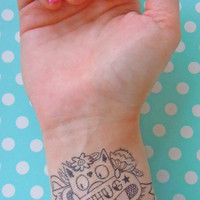 CATTOOS - 11 different temporary transfer cat tattoo's - Cute Cat Illustration / Hipster Tattoo / Geek / Temporary Tattoo