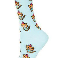 Aqua Party Hat Cat Ankle Socks - Topshop USA