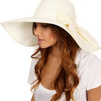 Ivory Bow Floppy Hat