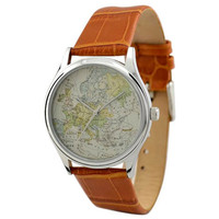 Vintage Map Watch (Europe) in Silver