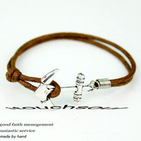 Seaside anchor bracelet-Big brown wax attachment bracelet size, color can be adjusted,