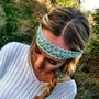 Beaded and Sequined Boho Headband in Tiffany Blue with Ribbon Tie Backs - Hip To It Headband