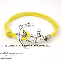 Seaside anchor bracelet-Big yellow wax attachment bracelet size, color can be adjusted,More suitable for young people today