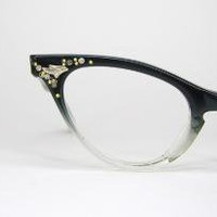 Vintage 50s Black Clear Cat Eye Eyeglasses by Vintage50sEyewear