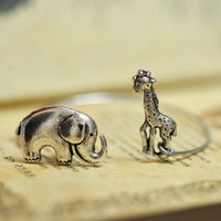Retro Silver elephant bracelet  with a cute by fantasticgift