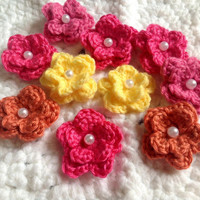 Bright Appliqué Flowers Hand Crochet- PICK 4- COLOR CHOICE: Sunshine Yellow, Bubblegum Pink, Hot Pink, Dreamcicle Orange