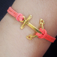anchor charm bracelet-antique gold bracelet-navy anchor-pink imitation leather bracelet-best gift for friendship-personalized bracelet