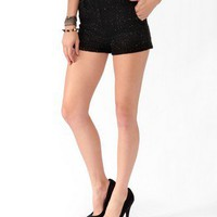 NEW - JACQUARD SHORTS W/ FRAYED RIBBON ACCENTS - HOT PANTS - SIZE M