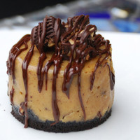 Dark Chocolate Peanut Butter Cup Cheesecake - Cupcake Size, 6 Single Servings. Absolutely Divine