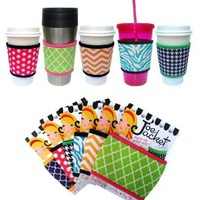 Joe Jacket® - Reusable coffee cup sleeve - Neoprene beverage insulator - Turquoise Zebra Stripe