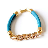 Chunky Chain PU Leather Bracelet - Turquoise