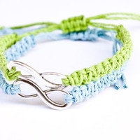 Infinity Friendship Bracelets Lime Green and Light Blue