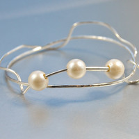 Freeform Bangle  BraceletWith Pearls . Sterling Silver . Celebrity Style