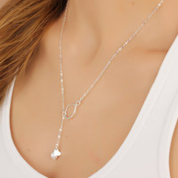 "Infinity necklace, infinity lariat necklace, silver pearl necklace, heart pendant, bridesmaid pendant, best friend necklace, wedding, ""Eleus"