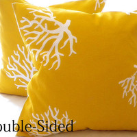 Throw pillow cover yellow/ White Coral indoor/outdoor beach  18 x 18 Double Sided