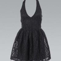 Black Halter Backless Dress with Lace Overlay
