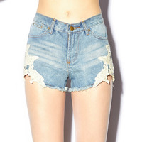 Crochet Lace Denim Cut Offs