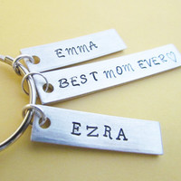 Key Chain Best MOM Ever Plus 2 Name Tags Hand Stamped Aluminum Metal MOTHERS DAY Moms Key Ring Kids Name
