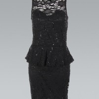 Black All Over Lace Peplum Bodycon Dress