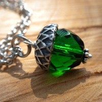 Acorn Emerald Green Necklace | Vixensnaturaljewelry - Jewelry on ArtFire