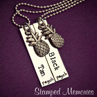 Psych Fan Black and Tan Necklace Set - Hand Stamped Stainless Steel with Pineapple Charm - Shawn and Gus Quotes - Best Friends Necklaces