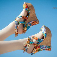 Bumper Wynona-12 Floral Print Strappy Wedge (Orange Multi) - Shoes 4 U Las Vegas
