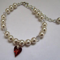 White Pearls with Red Magma Wild Heart Bracelet, Valentines