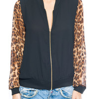 Chiffon Black Jacket with Leopard Print Sleeves