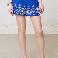 Anthropologie - Stitched Hem Linen Shorts