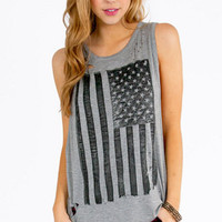 American Flag Long Tank Top $29