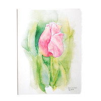 Pink Tulip Watercolor Mothers Day Card