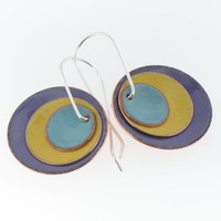 Three Enamel Disk Earrings in Purple, Yellow and Turquoise