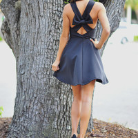 Breakfast At Tiffany's Bow Dress: Black | Hope's