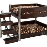 LazyBonezz Metropolitan 4-Step Pet Bunk Bed, Espresso: Pet Supplies