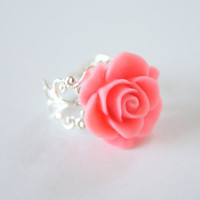 Pink Resin Rose Flower Silver Metal Adjustable Ring, Vintage Inspired