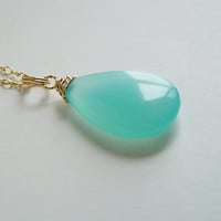 Aqua Chalcedony Pendant from queeniejewels@etsy.com
