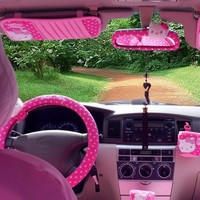 Leyou 13 Pc Hello Kitty Front Seat Saddle Covers /Back Covers/ Belt Cover/cushion Cover / Pillow/steering Wheel Cover
